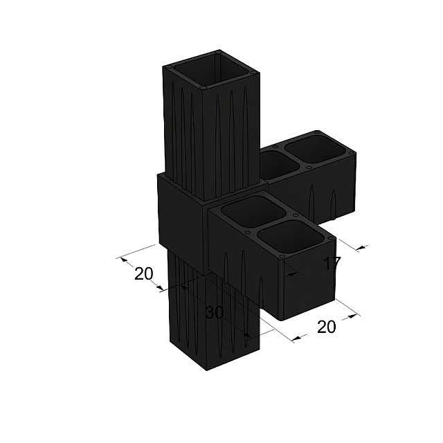 L TYPE 4 WAY CONNECTOR 20x20, BLACK